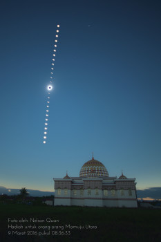 Solar Eclipse partial and total sequence shot taken at the local mosque in Mamuju Utara, Central/Western Sulawesi, Indonesia